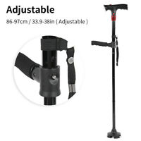 LED Magic Walking Stick All Terrain 4 Heads Pivoting Base Folding Cane Travel