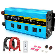 Pure Sine Wave Power Inverter 3000W Peak 6000W Dc 12V to Ac 120V 4 Usb Remote