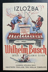 1942 Zagreb Croatia Advertising Postcard Cover Wilhelm Busch Exhibition