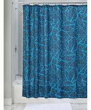 InterDesign Blue & Navy Palm Fabric Shower Curtain - NEW in Package
