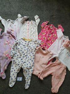 Baby Girls 0-3 Months Sleepsuit / Babygrow Bundle (B5)