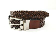 Tasso Elba Mens Reversible Braided Faux Leather Belt Size 32 Brown Black