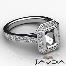Diamond Engagement Ring Emerald Semi Mount Halo Setting 18k White Gold 0.5Ct