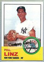 PHIL LINZ NEW YORK YANKEES 1963 STYLE CUSTOM MADE BASEBALL CARD BLANK BACK
