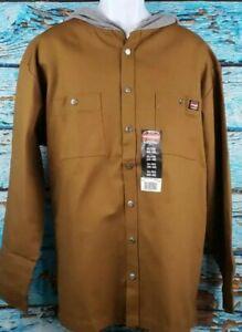 Wrangler Workwear Button Down Jacket Shirt Hood Men's XL