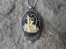 GODDESS DIANA THE HUNTRESS CAMEO NECKLACE - DEER 925 PLATED CHAIN - UNIQUE
