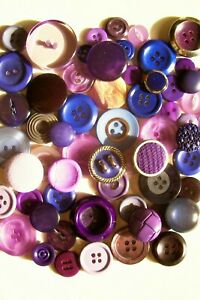 A lot of 60 mixed vintage buttons in shades of purple/crafting/collage/jewellery