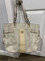 Coach White Leather Tote Handbag Purse Shoulder Bag Large J1068-16476