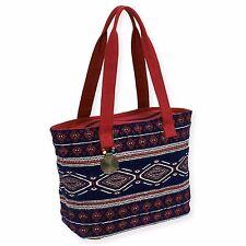 Catori Burg Navy Blue Geometric Bohemian Chic Handbag Soft Tote Shoulder Bag New