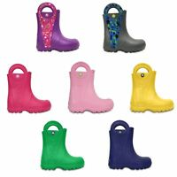 Crocs Kids Handle It Rain Boot Wellies in Blue, Green, Pink, Grey & Yellow 12803