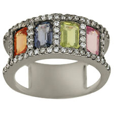 Sapphire Ring Emerald Cuts In Diamond Ring Pastel Color Sapphires 14K White Gold
