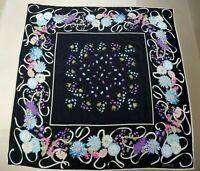 Gianni Versace 80's Vintage Silk Shawl Scarf Wrap Floral Peonies Peony Flowers