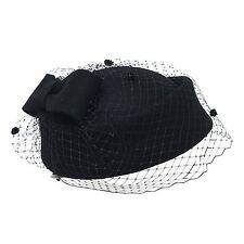 Retro British Style Cocktail Party Wedding Fascinator Veil Pillbox Hat for Women
