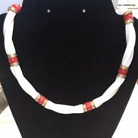Vintage Ivory White Red Lucite Plastic Bead Choker Necklace J555