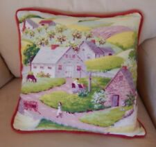 Grandma Moses Style Barkcloth Pillow Cover Vintage Country Pillow Shaby Chic 20""