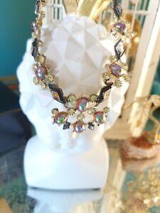 Vintage Jewellery Rainbow Blue Crystal AB Aurora Borealis Necklace