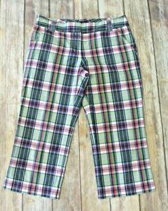 J Crew City Fit Womens 6 Bermuda Walking Shorts green pink plaid 100% Cotton
