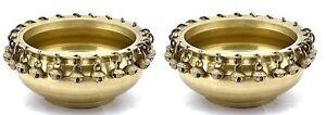 Brass Metal Round Hanging Bells Design Brass Urli Pair | Home Decor | Uruli Deco