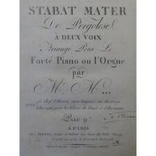 PERGOLESE Stabat Mater Chant Piano ou Orgue ca1800 partition sheet music score