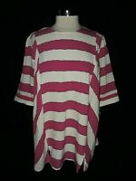 NEW MELISSA MCCARTHY Plus Size 1X Shirt Top Pink Ivory Striped 3/4th Sleeve