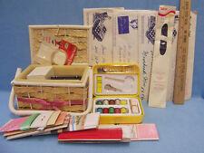 Lot of Vintage Sewing Basket Bias Tape Needles Pins Thread Travel Case Patterns