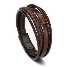 Men Women Handmade Leather Braided Wrap Punk Magnetic Wristband Cuff Bracelet
