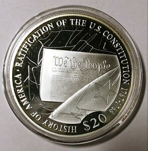 2006 Republic of Liberia $20 History of America .999 Fine Silver 20g.