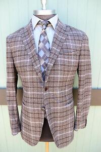 Cantarelli Italy Washed Wool Angora Silk Brown Check Three Button Blazer SZ 40R
