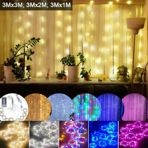 300 LED USB Curtain Fairy String Hanging Wall Lamp Wedding Xmas Party Lights
