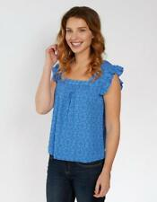 Fat Face Piper Frill Indigo Geo Top - Blue-Azure - Size UK 12 - RRP £45.00