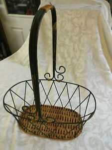 New Antique Green Metal & Wicker Basket