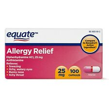 Equate Allergy Relief Diphenhydramine Capsules 25mg, 100 Ct, Exp 10/ 2022