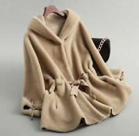 Womens Warm Hooded shearling Lamb Fur Coat Jacket Sheepskin Parka Cashmere CHIC