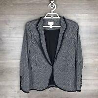 Chico's Women's 0 Ruffle Trim Ponte Knit Blazer Jacket Black White Herringbone