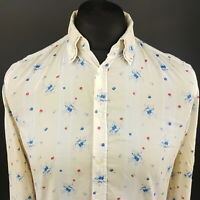 Diesel Mens Light Summer Shirt XS Long Sleeve Beige Regular Fit Floral Cotton