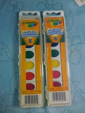 Two (2) Crayola Non-Toxic Washable Watercolor Paints 8 Assorted Colors NEW