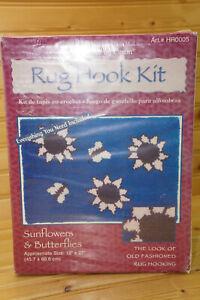 """Caron Rug Hook Kit Sunflower & Butterflies, 18"""" x 27"""", NIB"""