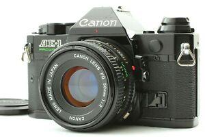 【 NEAR MINT 】 Canon AE-1 Program Black Camera + New FD 50mm f/2 Lens From JAPAN