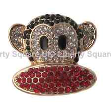 Gold Plated Red Black and White Monkey Brooch / Mothers Day Gift  #650