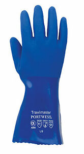 """BLUE PVC 12"""" GLOVES,PETROL,OIL,CHEMICALS & FISHING,PORTWEST,A880. 660 STYLE"""