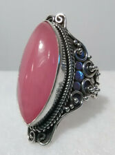 Bali legacy Pink Jade Ring in Sterling Silver size 6 TGW 8.37 cts