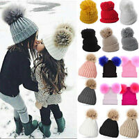 Women Ladies Winter Beanie Hat Warm Knitted With Large Pom Pom Ski Ball Cap Hats