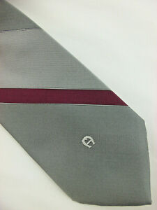 ETIENNE AIGNER VTG Mens Tie Striped Multicolor Gray Burgundy Vintage