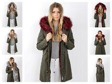 Damen Winterjacke Mantel Outdoor Blogger Parka Fellkapuze Pelz warm YR1393