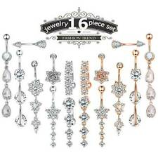 Navel Bar Curved Barbell Piercing Jewelry 16Pcs 14G Belly Button Rings Cz Dangle