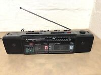 Vintage 80s Boombox AM FM Radio Dual Cassette Deck Recorder GPX C950 or Battery