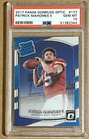 PATRICK MAHOMES II 2017 Panini Donruss Optic #177 RC Rookie Gem Mint PSA 10