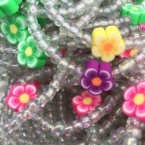Flower Seed Bead Stretch Bracelets Bulk Lot of 100 USA Handmade -Multicolor  OA