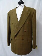 Men's Check Mickey Spatz Double Breasted Vintage Wool Jacket Blazer 44R CC5031