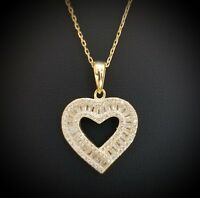 14k Yellow Gold Over Sterling Silver White Crystals Heart Pendant Necklace